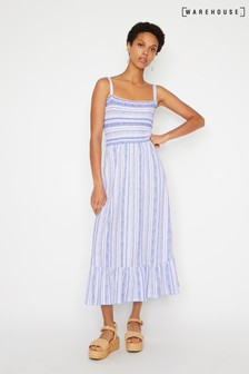 Warehouse Blue Stripe Shirred Midi Dress