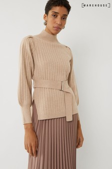 Warehouse Brown Wide Rib Belted Jumper