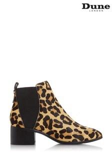 Dune London Leopard Ozzi Leather Low Block Heel Ankle Boots