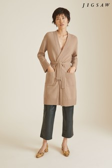 Jigsaw Camel Merino Long Cardigan