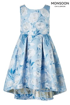 Monsoon Blue Naya Jacquard Hi Low Dress