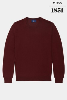 Moss 1851 Wine Merino Crew Neck Jumper