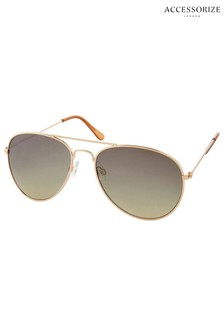 Accessorize Gold Chantal Aviator Style Sunglasses