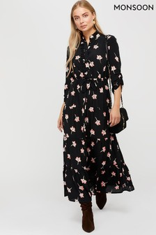 Monsoon Black Mazi Floral Print Tiered Dress