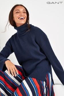 GANT Navy Soft Wool Turtleneck Sweater