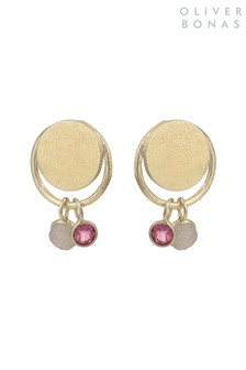 Oliver Bonas Gold Tone Circle & Stone Drop Gold Plate Earrings