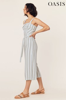 Oasis Natural Stripe Button Jumpsuit