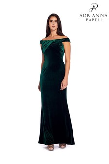 Adrianna Papell Green Stretch Velvet Dress