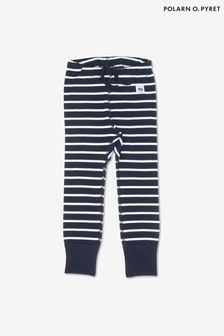 Polarn O. Pyret Blue GOTS Organic Striped Leggings