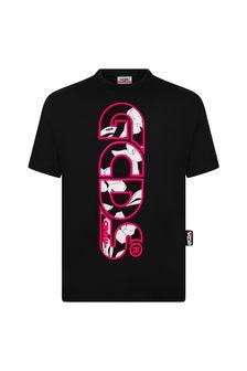 GCDS Mini Girls Black Cotton T-Shirt