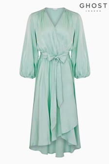 Ghost London Blue Aggie Satin Dress