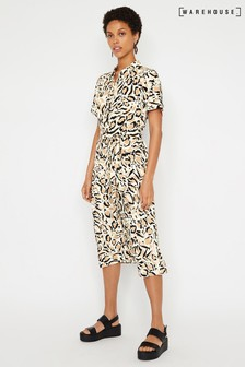 Warehouse Natural Print Midi Shirt Dress