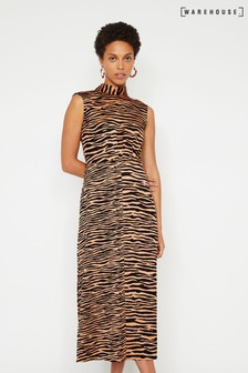 Warehouse Animal High Neck Midi Dress