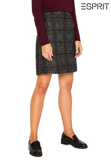 Esprit Black Checkered Skirt