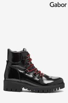 Gabor Black Valley Foot Fit Patent Leather Ankle Boots