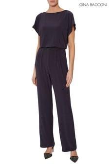 Gina Bacconi Purple Parker Jersey Jumpsuit