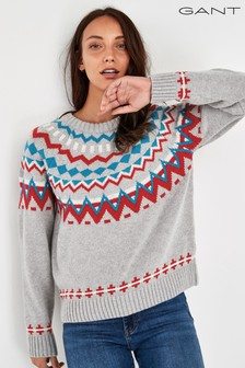 GANT Grey Winter Fairisle Pattern Jumper