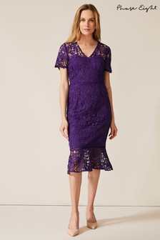 Phase Eight Purple Daria Guipire Lace Dress