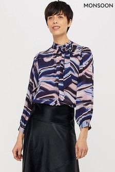 Monsoon Blue Mabel Marble Print Blouse