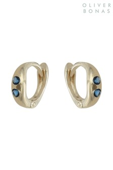Oliver Bonas Gold Tone Oval & Stone Gold Plate Hoop Earrings