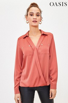 Oasis Satinhemd mit Wickeldesign, Pink
