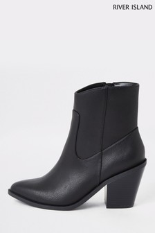 River Island Black Shelby Clean Western Boots