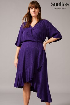 Studio 8 Purple Olive Wrap Jacquard Dress