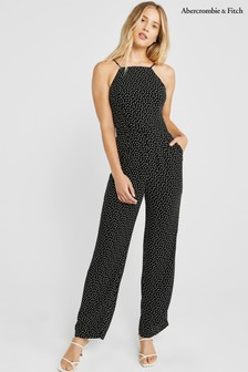 Abercrombie & Fitch Black Printed Jumpsuit