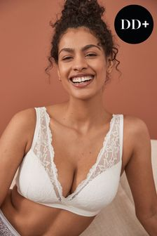Daisy DD+ Cotton and Lace Lightly Padded Wire Free Bra