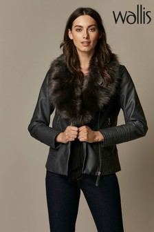 Wallis Grey Faux Leather Fur Collar Jacket