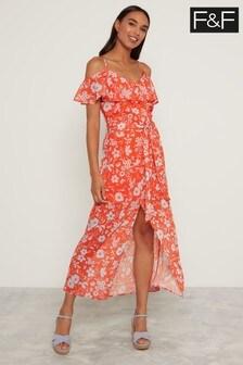 F&F Coral Ditsy Bardot Fluro Floral Dress
