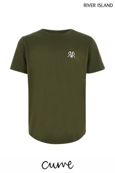 River Island Khaki Embroidered Double Curve T-Shirt