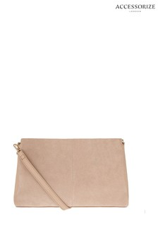 Accessorize Nude Jane Leather Clutch Bag