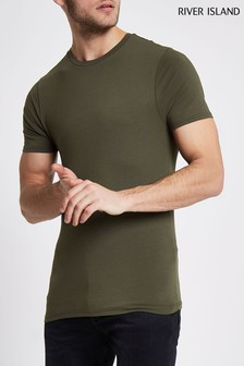 River Island Green Short Sleeved Muscle Fit Crew T-Shirt