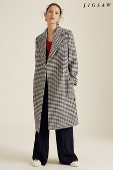 Jigsaw Brown Heritage Check Maxi Coat