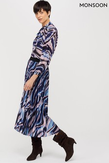 Monsoon Blue Mabel Marble Print Pleated Skirt