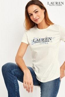 Lauren Ralph Lauren® Hailly T-Shirt mit Blumenmuster, Creme
