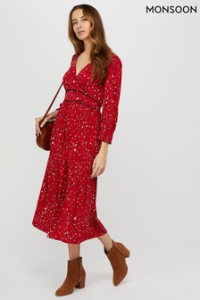 Monsoon Red Star Print Midi Dress