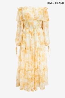River Island Yellow Bright Waisted Maxi Dress