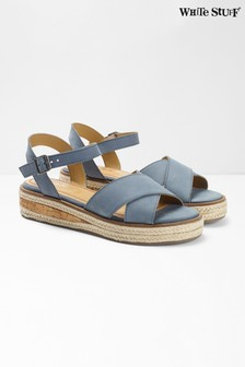 White Stuff Blue Zena Jute Flatform Sandals