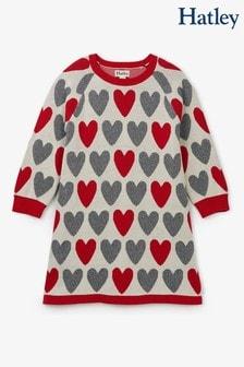 Hatley Natural Festive Hearts Sweater Dress