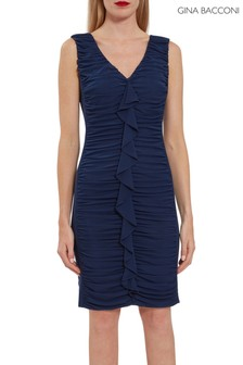 Gina Bacconi Blue Junette Ruched Stretch Mesh Dress