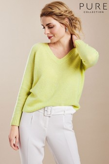 Pure Collection Yellow Cashmere Lofty V-Neck Sweatshirt