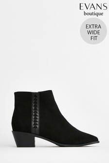 Evans Extra Wide Fit Black Twist Side Ankle Boots