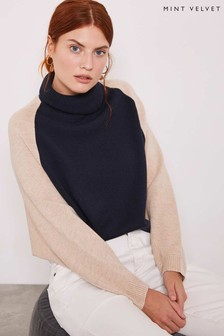 Mint Velvet Blue Bi Colourblock Knit Jumper