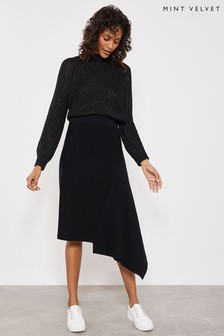 Mint Velvet Black Asymmetric Hem Knitted Skirt