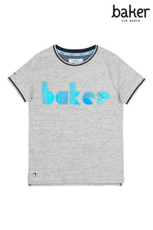 Baker by Ted Baker Grey Foil Logo T-Shirt