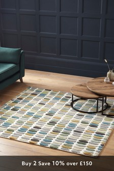 Square Green Pastel Sketch Rug