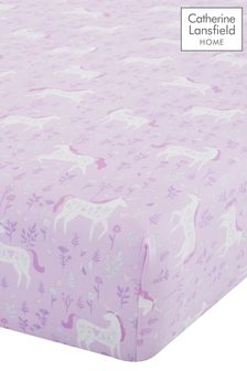 Folk Unicorn Easy Care Junior Fitted Sheet by Catherine Lansfield