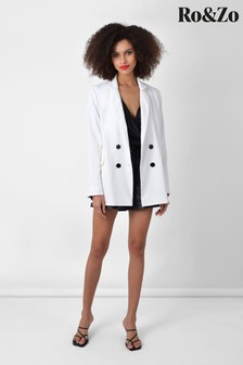 Ro&Zo White Double Breasted Blazer